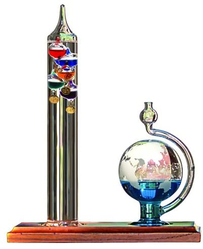 2. AcuRite 00795A2 Galileo Thermometer with Glass Globe Barometer, Barometer Set