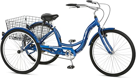 1. Schwinn Meridian Adult Tricycle, Three Wheel Cruiser Bike, Multiple Speeds and Electric, 26-Inch Wheel Trike