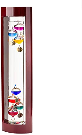 4. Wind & Weather Galileo Thermometer with Cherry Finish Wood Frame