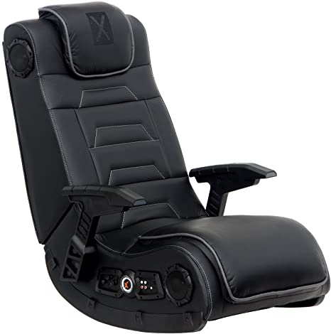 5. X Rocker Pro Series H3 Black Leather Vibrating Floor Video Gaming Chair