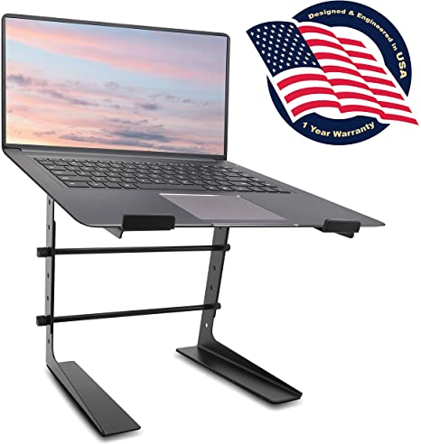 1. Pyle Portable Adjustable Laptop Stand - 6.3 to 10.9 Inch Anti-Slip Standing Table Monitor or Computer Desk Workstation Riser