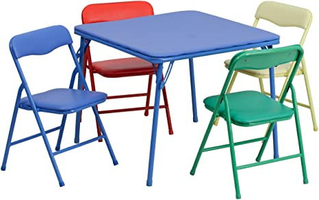 8. Flash Furniture Kids Colorful 5 Piece Folding Table and Chair Set