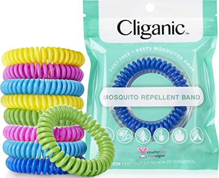 1. Cliganic 10 Pack Mosquito Repellent Bracelets, DEET-Free Waterproof Bands