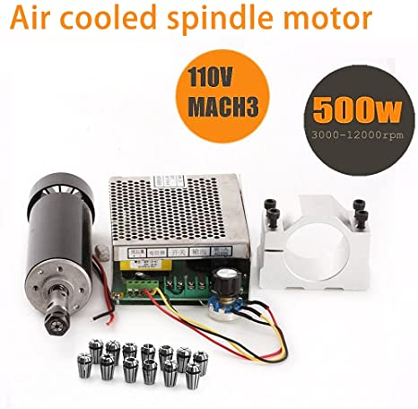 9. CNC Spindle 500W Air Cooled 0.5kw Milling Motor and Spindle Speed Power Converter and 52mm Clamp and 13pcs ER11 Collet