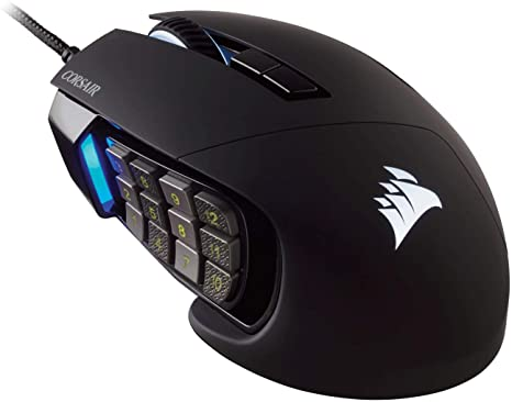 3. Corsair Scimitar Pro RGB - MMO Gaming Mouse - 16,000 DPI Optical Sensor - 12 Programmable Side Buttons
