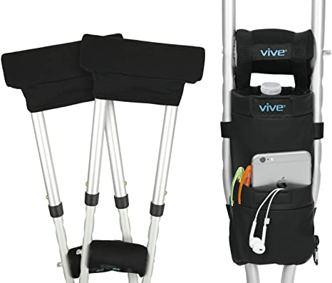 7. Vive Crutch Pad and Bag Set - Underarm Padding, Hand Grips and Pouch for Crutches