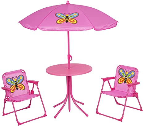 4. Kids Folding Picnic Table and Chairs Set with Removable Beach Umbrella Mini Camping Table Set