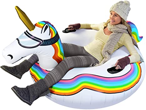 2. GoFloats Winter Snow Tube - Inflatable Sled for Kids and Adults