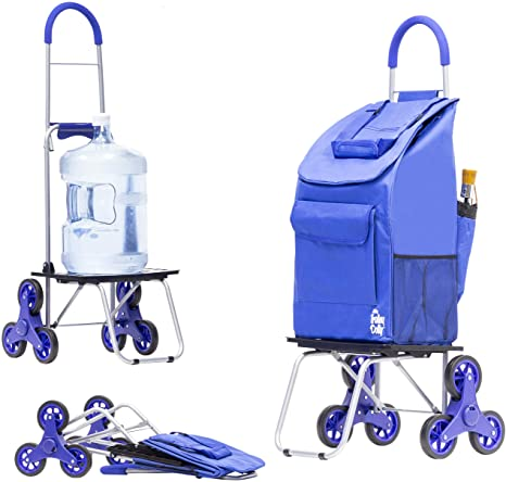 1. dbest products Stair Climber Bigger Trolley Dolly, Blue Shopping Grocery Foldable Cart Condo Apartment