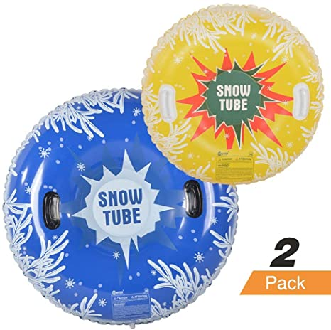 5. HIWENA Snow Tubes, Inflatable Snow Tubes for Family with 2 Higher Handles, Heavy Duty Snow Sled