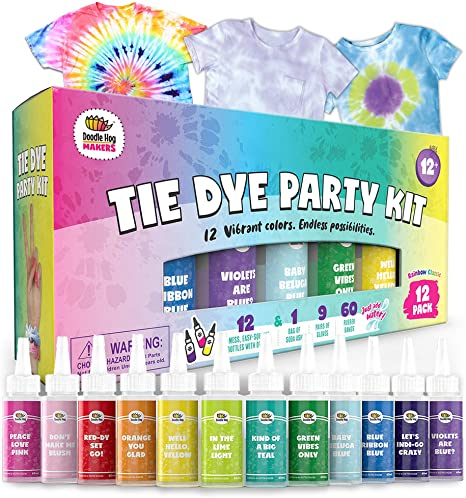 3. Doodlehog Easy Tie Dye Party Kit for Kids, Adults, and Groups. Create Vibrant Designs with Non-Toxic Dye