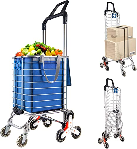 8. LEADALLWAY Portable Stair Climbing Cart with 8 Wheels, Heavy Duty Double Handle Rolling Grocery Laundry Utility Shopping Cart