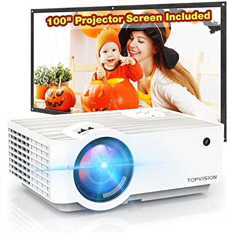 """5. Topvision 5500L Portable Mini Projector with 100"""" Projector Screen"""