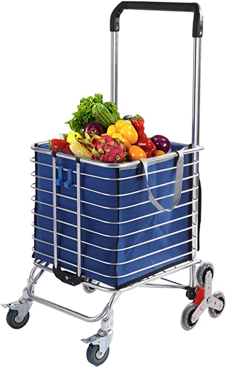 6. Fox Flower Grocery Cart with Wheels Folding Shopping Cart with Large Heavy-Duty and Rolling Swivel Wheels