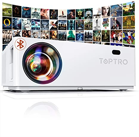 """1. ToptroBluetooth Projector, Native 1080P, and 350"""" Display, 7200 Lux Video Projector"""