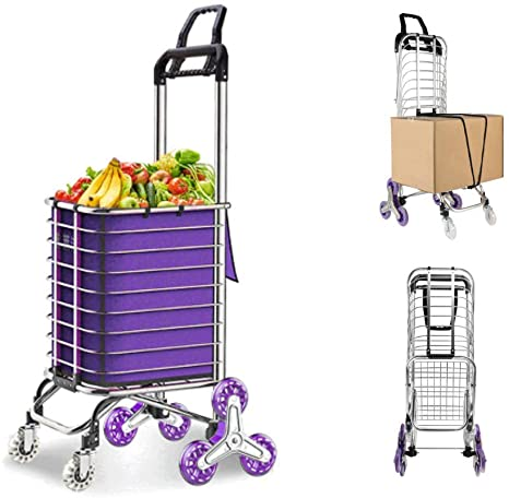 7. JAUREE Grocery Cart, Folding Shopping Cart for Groceries, Upgraded Utility Cart