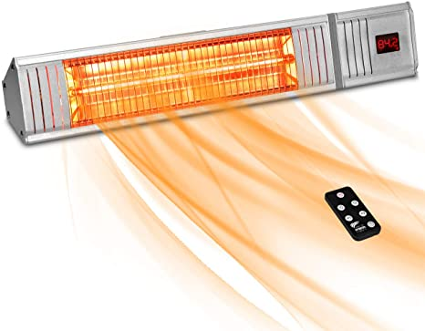 8. Patio Heater - Outdoor Heater w/3s-Fast Heating & Remote Control, Electric Patio Heater