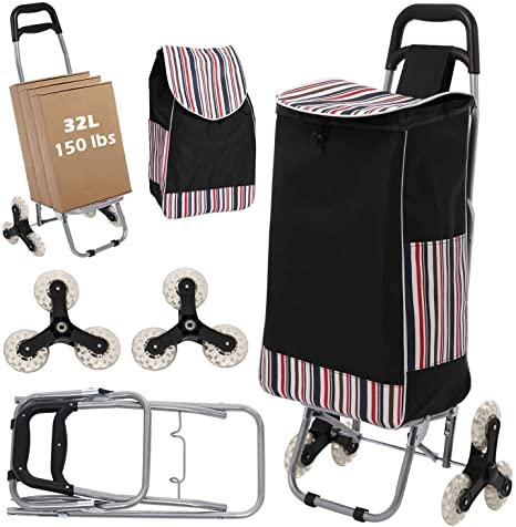10. Wesoky Shopping Cart Stair Climber, 2-in-1 Folding Grocery Laundry Utility Cart Hand Truck 150 lbs