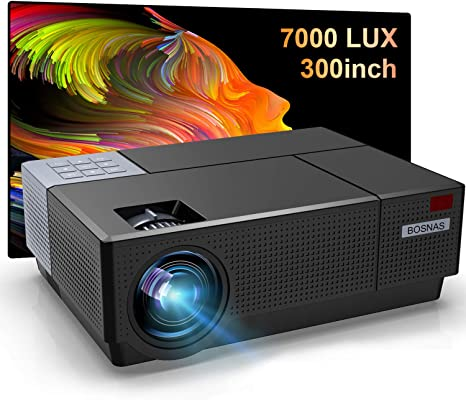 9. BOSNAS Native 1080P Projector 7000 Lux LED Projector