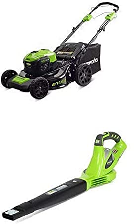 4. Greenworks 21-Inch 40V Self-Propelled Cordless Lawn Mower with 40V 150 MPH Variable Speed Cordless Blower
