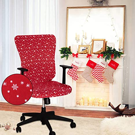 2. LUSHVIDA Christmas Office Chair Covers Stretch Washable Computer Chair Slipcovers for Universal Rotating Boss Chair