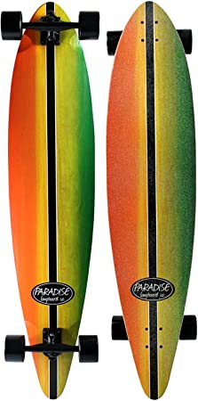 6. Paradise Maple Pintail Longboard Complete Rasta Stain Concave