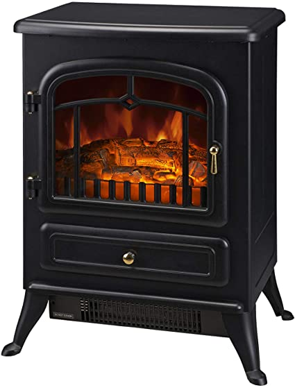 4. HOMCOM Freestanding Electric Fireplace Heater with Realistic LED Log Flames and Automatic Timer