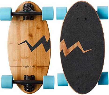 10. Eggboards Mini Longboard Bamboo Wood - Sustainable Compact Skateboard for Adults and Kids. Easy to Carry, Smooth to Ride
