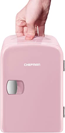 3. Chefman Mini Portable Pink Personal Fridge Cools Or Heats & Provides Compact Storage For Skincare, Snacks, Or 6 12oz Cans