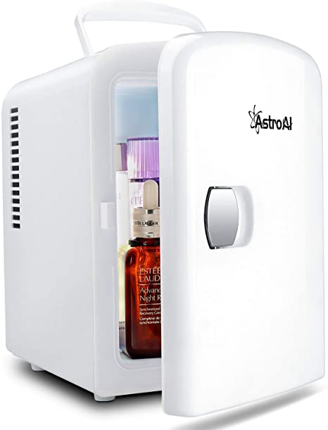 2. AstroAI Mini Fridge 4 Liter/6 Can AC/DC Portable Thermoelectric Cooler and Warmer for Skincare, Foods, Medications, Home and Travel