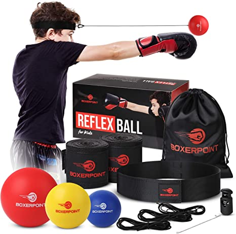 10. BOXERPOINT Boxing Reflex Ball Set for Kids - 3 Difficulty Level Soft Punching Balls - Boxing Training Equipment