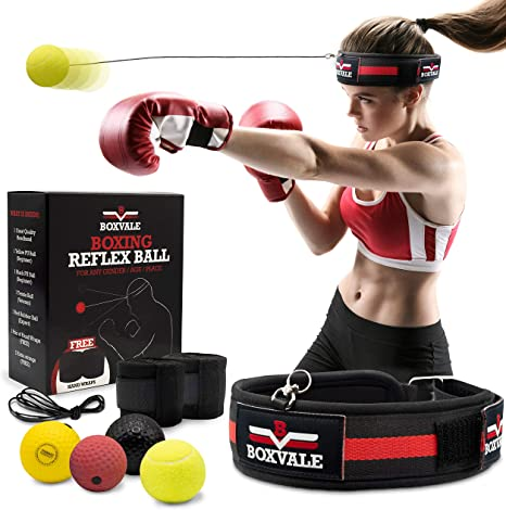 5. Boxvale Boxing Reflex Ball for Hand Eye Coordination Training, Set of 4 Multilevel Agility Balls