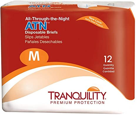 6. Tranquility ATN Adult Disposable Incontinence Briefs, Refastenable Tabs, with All-Through-The-Night Protection, M (32