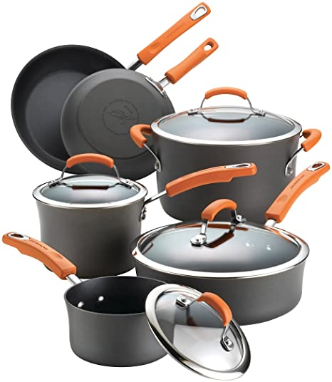 3. Rachael Ray Brights Hard-Anodized Aluminum Nonstick Cookware Set with Glass Lids, 10-Piece Pot and Pan Set, Gray with Orange Handles