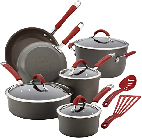 1. Rachael Ray Cucina Hard Anodized Nonstick Cookware Pots and Pans Set
