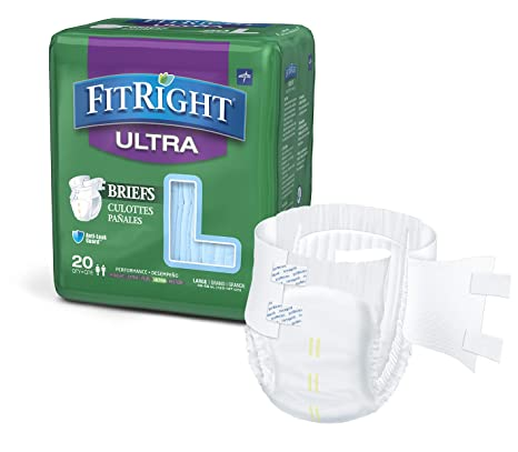 5. FitRight Ultra Adult Diapers, Disposable Incontinence Briefs with Tabs, Heavy Absorbency