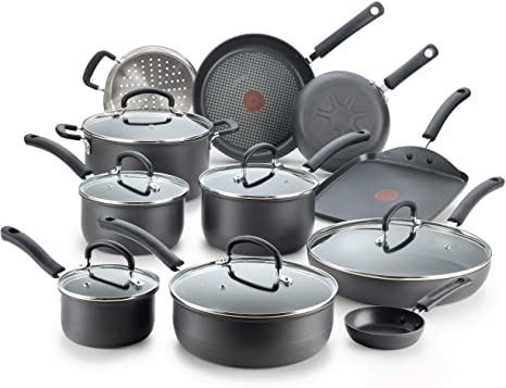 4. T-fal Ultimate Hard Anodized Nonstick 17 Piece Cookware Set, Black