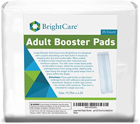 7. Large Adult Diaper Booster Pad Liner Inserts with Adhesive for Men or Women (15.75 x4.25 Inch) - Extra Absorbent Doubler