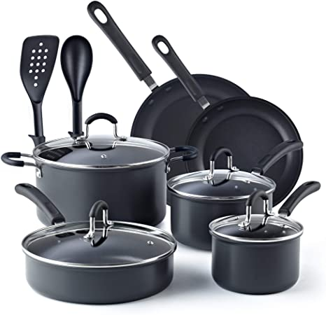 7. Cook N Home, Black 12-Piece Nonstick Hard Anodized Cookware Set