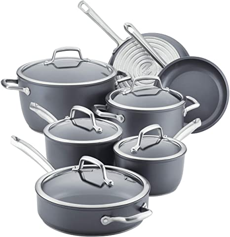 10. Anolon Accolade Hard-Anodized Precision Forge Cookware Set with Glass Lids, 12-Piece Pot and Pan Set, Moonstone