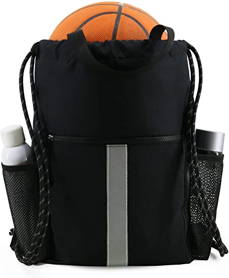 7. Drawstring Backpack Sports Gym Bag with Shoe Compartment and Two Water Bottle Holder