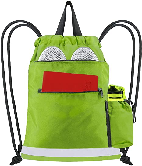 3. Drawstring Bag Backpack Washable String Sports Equipment Storage Sackpack Beach Travel Gym Camping Workout Gear