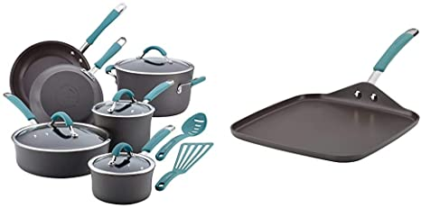 8. Rachael Ray Cucina Hard Anodized Nonstick Cookware Pots and Pans Set
