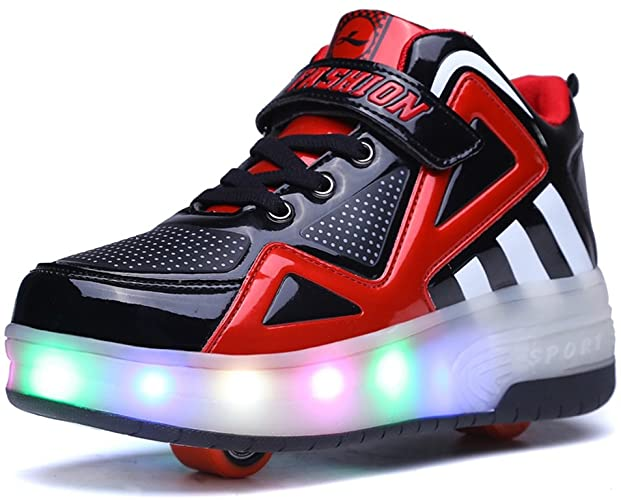 5. Ufatansy USB Charging Shoes Roller Shoes Girls Roller Skate Shoes Boys Sneakers Kids LED Light up Wheels Shoes