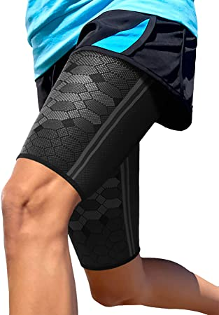1. Sparthos Thigh Compression Sleeves (Pair) – Quad and Hamstring Support – Upper Leg Sleeves for Men and Women