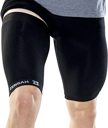 3. Zensah Thigh Compression Sleeve – Hamstring Support, Quad Compression Sleeve for Men and Women - Thigh Sleeve Wrap