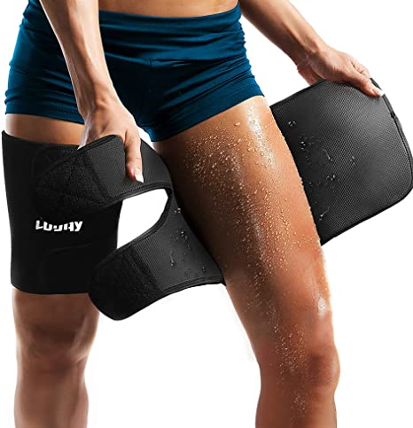 9. Neoprene Thigh Brace Support Hamstring Compression Sleeve Adjustable Upper Leg Wraps for Women and Men (a pair)