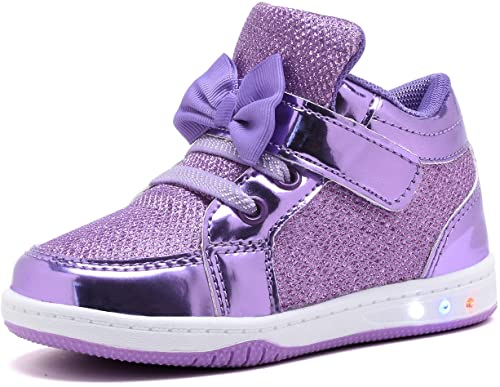 8. YILAN YL313 Toddler Glitter Shoes Girl's Flashing Sneakers with Cute Bowknot