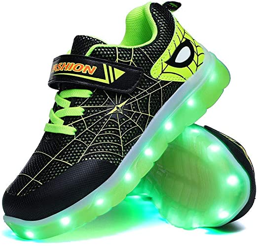 1. YUNICUS Kids Light Up Shoes Led Flash Sneakers with Spider Upper USB Charge for Boys Girls Toddles Best Gift