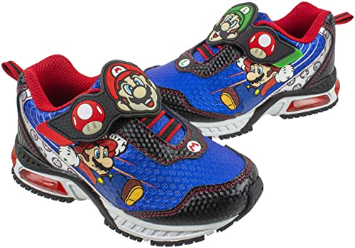 10. Super Mario Brothers Mario and Luigi Kids Tennis Shoe, Light Up Sneaker, Mix Match Runner Trainer, Kids Size 11 to 3